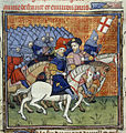 English army with banner - Chroniques de France ou de St. Denis (end 14th C), f.186 - BL Royal MS 20 C VII.jpg