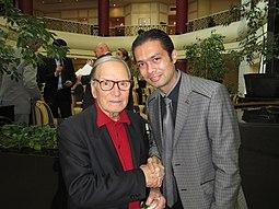 Ennio Morricone con Otabek Mahkamov, nel 2011
