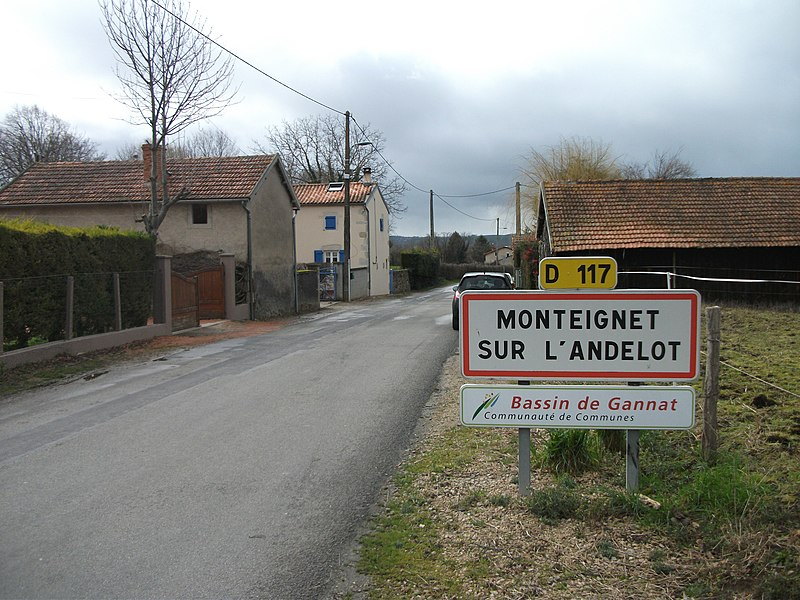 Entrance of Monteignet-sur-l'Andelot by departmental road 117, from the dep. rd. 36 Escurolles–Biozat [10196]
