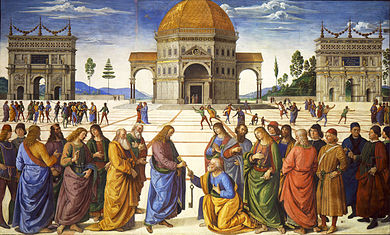 Rectangular fresco. The scene is like Raphael's Marriage of the Virgin, above, which is based on it. There is a similar townscape and circular building in perspective, with an ancient Roman triumphal arch to either side. In the foreground, Jesus gives the keys of Heaven to St Peter, who is kneeling. To the right and left stand the other disciples and some onlookers, who are distinguished by Renaissance clothing. There are many more small figures in the square behind them.