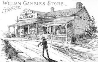 The Kingsway - The Gamble's store was situated in the community of Lambton Mills, on the west side of the Humber River, south of Dundas Street, 1893.