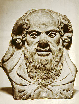 Antefix - This Etruscan antefix depicts the mythological character Silenus. Walters Art Museum, Baltimore.