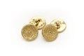 Ett par manschettknappar av guld, bestående av runda plattor med små kulor - Skoklosters slott - 92269.tif