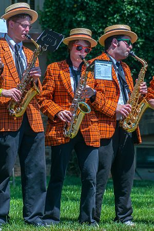 Princeton University Band - The PUB's uniforms haven't changed much over the years, but members are fond of augmenting them with funny sunglasses and pins
