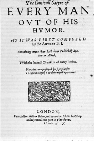 Every Man out of His Humour - Title page of 1600 printing of Every Man out of His Humour.