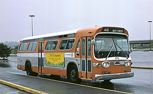 Rose City Transit - 1966 GM bus 575, pictured in 1985 wearing Tri-Met's first color scheme, was the last bus purchased by Rose City Transit.  It and others of its type passed to Tri-Met in 1969, and the last examples were in service until 1985.