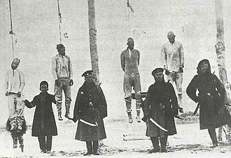 "Persian Constitutional Revolution - One of many series of execution of ""Constitutional Activists"" by Russian cossacks in Tabriz."