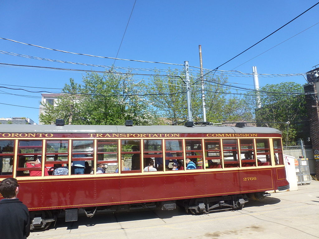 File exteriors of the ttc 39 s legacy streetcars at the for Car house