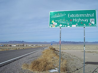 Nevada State Route 375 - Looking northwest near Rachel, visitors have left their marks on the Extraterrestrial Highway.