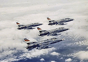 Soesterberg Air Base - North American F-100C-20-NA Super Sabres of the 32d Tactical Fighter Squadron. Identifiable AF Serial Numbers are 54-1904, 54-1905 and 53-1771