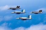 FA-18 Super Hornets of VFA-27, VFA-41, VFA-115 and VFA-151 in flight on 18 June 2016.JPG