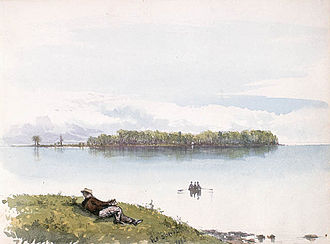 Hochelaga Archipelago - Dorval Island as painted by Frances Anne Hopkins, 1866.