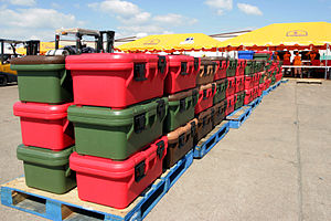 Food storage - U.S. Federal Emergency Management Agency (FEMA) food storage containers stacked on shipping pallets in Texas, 2008.