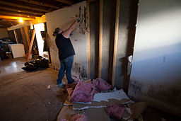FEMA - 45061 - Wall demolition at Rocky Boy Indian Reservation in Montana