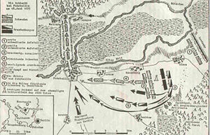 Swedish invasion of Brandenburg (1674–75) - Schematic illustration of the Battle of Fehrbellin on 28 June 1675 – showing the terrain features