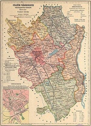 Fejér County (former) - Image: Fejér county administrative map