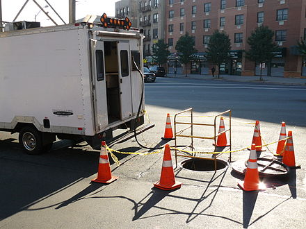 A mobile fiber optic splice lab used to access and splice underground cables Fiber Splice Lab.jpg