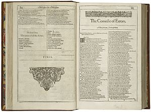 The Comedy of Errors - The first page of the play, printed in the First Folio of 1623