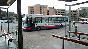 Buchanan bus station - A First Glasgow bus showing the saw-tooth arrangement used for the stands