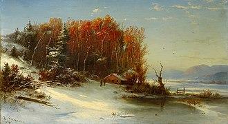 Régis François Gignoux - Image: First Snow Along the Hudson River oil on canvas painting by François Régis Gignoux 1859, private collection