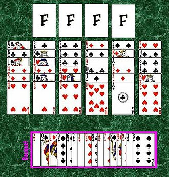 Flower Garden (solitaire) - The initial layout in the game of Flower Garden
