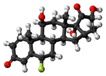 Ball-and-stick model of the fluprednisolone molecule
