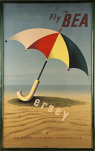 Abram Games - Image: Fly BEA Jersey tourism advertising poster beach umbrella
