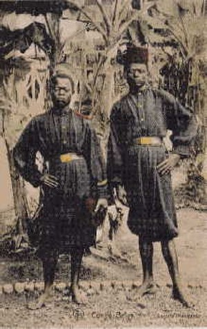 Force Publique - Two Force Publique soldiers at Fort Shinkakasa. Shown are the blue and red uniforms worn until 1915