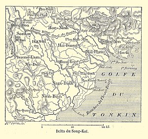 Tonkin - 1894 map of French protectorate of Tonkin and Red River Delta.