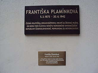 Františka Plamínková - Memorial plaque to Senator Františka Plamínková in the garden of Wallenstein Palace