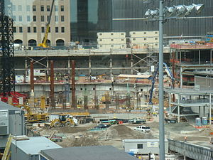 Construction of One World Trade Center - One World Trade Center tower construction as of August 7, 2007.