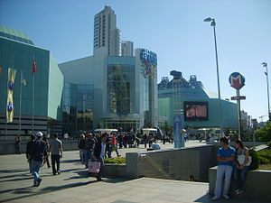 Entrance to the Şişli station of the Istanbul Metro in front of Istanbul Cevahir, Europe's largest shopping mall.