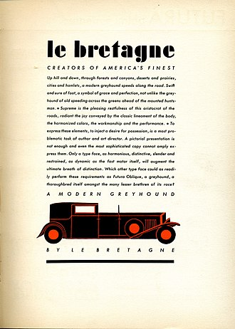 Futura (typeface) - An early American metal type specimen sheet of Futura Oblique. The design shows a hypothetical layout advertising a car, emphasising Futura's modernity and cleanliness.