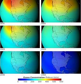 An animation showing colored representation of ozone distribution by year, above North America, through 6 steps. It starts with a lot of ozone especially over Alaska and by 2060 is almost all gone from north to south.