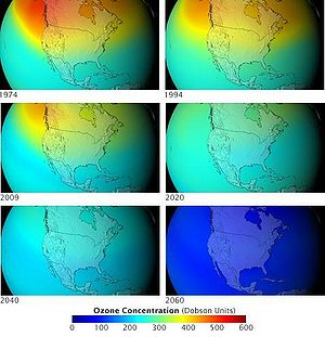 Chlorofluorocarbon - Image: Future ozone layer concentrations