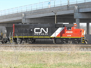 Grand Trunk Western Railroad - Grand Trunk Western GP38-2 4900 at Battle Creek, Michigan in the CN color scheme with GTW reporting marks