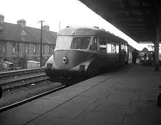 British railcars and diesel multiple units - One of the earlier, more-streamlined GWR diesel railcars, still in British Railways service in May 1956