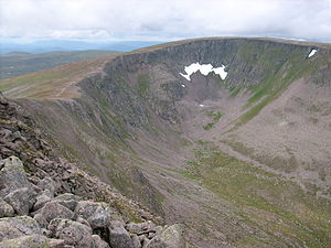 Snow patches in Scotland - Scotland's most durable snow patch, Garbh Choire Mòr, Braeriach, 8 August 2008