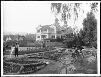 Paul de Longpré - Paul de Longpré house and garden, formerly located at Hollywood Boulevard and Cahuenga Avenue, in Hollywood, California.