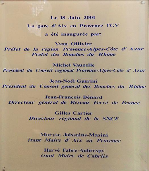 Plaque d'inauguration de la gare d'Aix-en-Provence TGV.