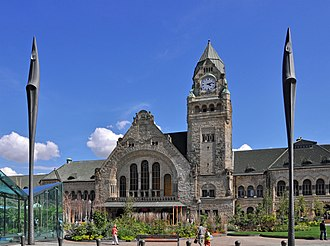 Alsace-Lorraine - The neo-Romanesque Metz railway station, built in 1908. Kaiser Wilhelm II instigated the construction of various buildings in Alsace-Lorraine supposedly representative of German architecture.