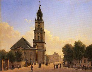Die Potsdamer Garnisonkirche auf einem Gemälde von Carl Georg Hasenpflug (Bild Wikipedia)