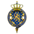 Garter-encircled Royal Arms of Beatrix, Queen of the Netherlands (now Princess).png
