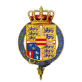 Garter-encircled Royal Arms of Margrethe II, Queen of Denmark.png
