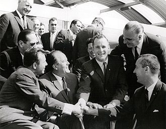 Georges Pompidou - Pompidou with Soviet cosmonaut Yuri Gagarin and Gemini 4 astronauts at the 1965 Paris Air Show