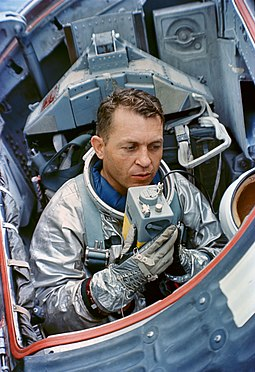 Elliot See during water egress training with NASA (1965) Gemini 5 Elliot See water egress training.jpg