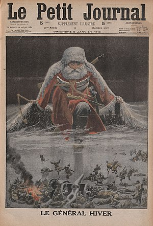 "Russian Winter - ""General Winter"", from a 1916 front page illustration of the French periodical Le Petit Journal"