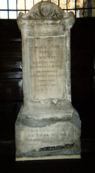 George Chapman - Grave of George Chapman in the Church of St. Giles, London. The tombstone was designed and paid for by Inigo Jones
