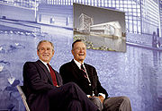 George H.W. and George W. Bush in Beijing 2008