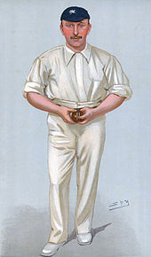Caricature of a cricketer holding a ball